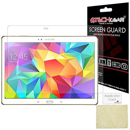 TECHGEAR [3 Stück Displayschutz für Galaxy Tab S 10.5 Zoll - Ultra Klare Schutzfolie für Samsung Galaxy Tab S 10.5 Zoll (SM-T800 / SM-T805) - mit Reinigungstuch + Applikationskarte