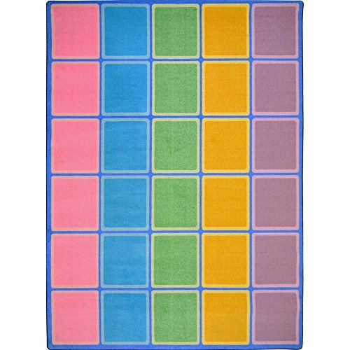 Joy Carpets Kid Essentials Early Childhood Blocks Abound Rug, Pastel, 7'8' x 10'9'