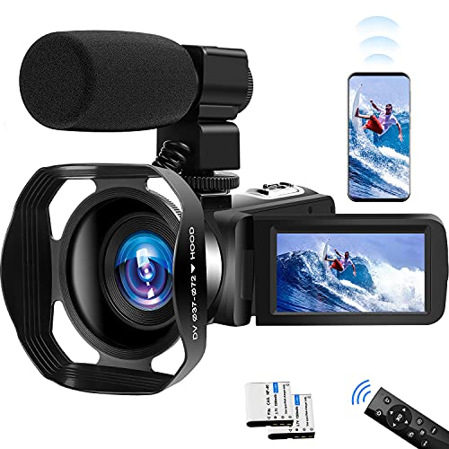Video Camera 4K Camcorder UHD 60FPS Vlogging Camera for YouTube WiFi 48M Digital Zoom Camcorder IR Night Vision 3 in Touch Screen Support Webcam Microphone