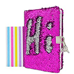 "VIPbuy Magic Reversible Sequin Notebook Diary Lined Travel Journal with Lock and Key for Kids Girls, Size A5 (8.5"" x 5.5""), 78 Sheets, Rose Red to Silver"