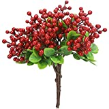 Greentime 10 Pack Artificial Red Berry Stems Faux 9.9 Inches Holly Berry Branches for DIY Crafts Berry Wreath Table Centerpiece Vase Decor