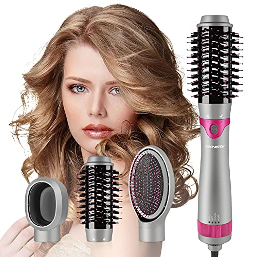 Hair Dryer Brush Blow Dryer Brush,Zeonetak 3 in 1 Negative Ionic Hot Air Brush,Interchangeable Hair Styler &Volumizer, Blowout Brush with Attachments for Straightening Curling Drying