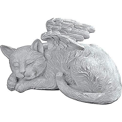 New Creative Angel Pet Statue 1/2pcs Sleeping Memorial Grave Marker Tribute Statue Dog/Cat in Angel's Wing Resin Indoor Outdoor Garden Ornament (cat)