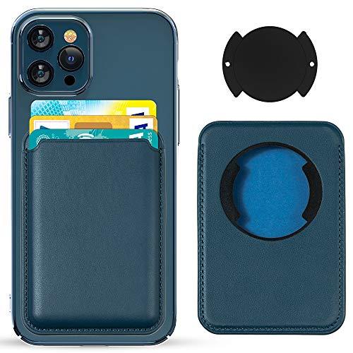 KINGXBAR Abnehmbarer Leder-Kartenhalter zum Aufkleben auf 3M-Klebefolie für Handy, Kreditkarte, Ausweis, Tasche für Rückseite von iPhone, Samsung Galaxy und alle Smartphones, Marineblau