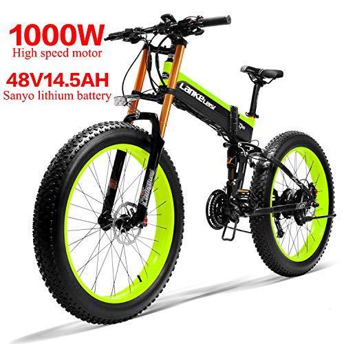 LANKELEISI 750PLUS 48V14.5AH 1000W Motor Bicicleta eléctrica con Todas Las Funciones 26''4.0 Ebike Bicicleta de montaña de Nieve de 27...