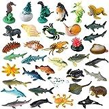 OOTSR 36 Pack Ocean Sea Animals Toys Set, Mini Plastic Sea Creatures Realistic Sea Animal Figures Under The Sea Life Figures Bath Toys for Kids Educational Party Cupcake Pool Decor