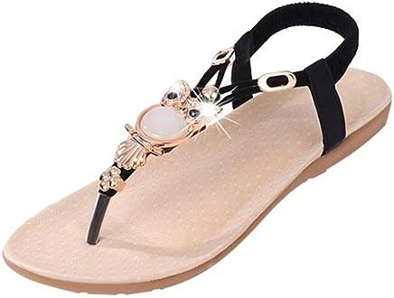 2557623c7 DaoAG - Shoes Womens Flat Sandals Crystal Embellished Owl Flip Flop Sandals  Ankle Strap Casual Sandle