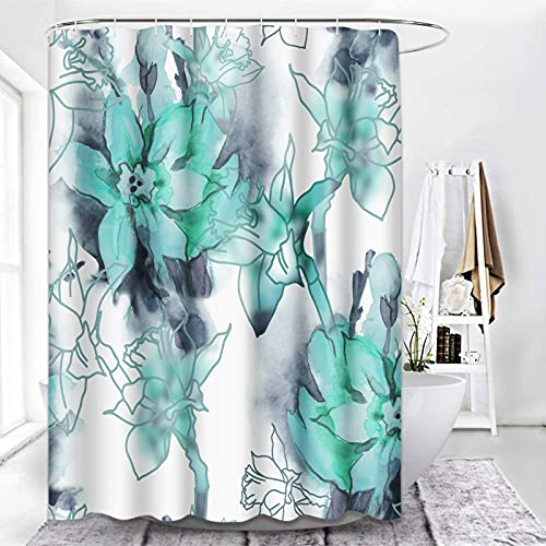 ArtSocket Shower Curtain Teal Flowers Watercolor Grey Floral Abstract Beautiful Bouquet Waterproof Polyester Fabric Bathroom Decor Bath 72 x 72 Inches Set with Hooks