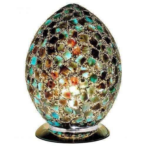 Weird Or Wonderful Fabulous Große Mosaik-Eierlampe von Febland – Pfauengrüne Fliese – Licht Craquelé Schlafzimmer Nachttisch Schreibtisch Tisch UK-Stecker Energieklasse A