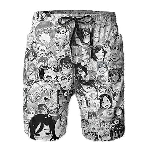 BillyWonlo Ahegao Badehose mit Kordelzug, für Mädchen und Herren, Anime-Motiv, für den Strand Gr. XXL, weiß