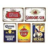 5 uds, placa de whisky de cerveza Vintage, letrero de metal Retro, letrero de chapa para hombres, bar, pub, publicidad, decoración de pared, 20x30cm