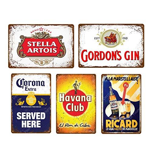 Makkalensau 5 pièces Vintage bière Whisky Plaque rétro métal Signe étain Signe Hommes Cave Bar Pub publicité décoration Murale 20x30 cm YD5047J