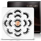 CarLary 3D Faux Mink Eyelashes Set, Handmade Luxurious Volume Fake Eyelashes Long Soft Fluffy Reusable False Eyelashes Pack 7 Pairs