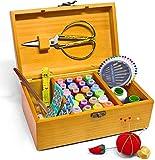 Caja de costura cesta de costura con kit accesorios vintage madera organizar caja para Mon Grandma...