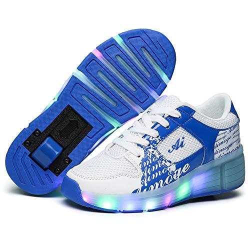 Unisex Led Luz Automática de Skate Zapatillas Patines en Línea con Ruedas Zapatos Patines Deportes Zapatos para Niños Niñas (Color : Blue 1 Wheel, Size : 38 EU)