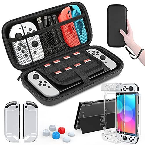 HEYSTOP Tasche für Nintendo Switch OLED,Transparent PC Hülle for Nintendo Switch OLED Modell mit Schutzfolie aus gehärtetem Glas und Daumenkappe