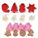 Set de 8 Moldes de Galletas Navidad Plástico Cortador para Galletas de forma Muñeco de Nieve Papá Noel Copo de Nieve árbol de Navidad Cortador de Pastel de Galletas 3D