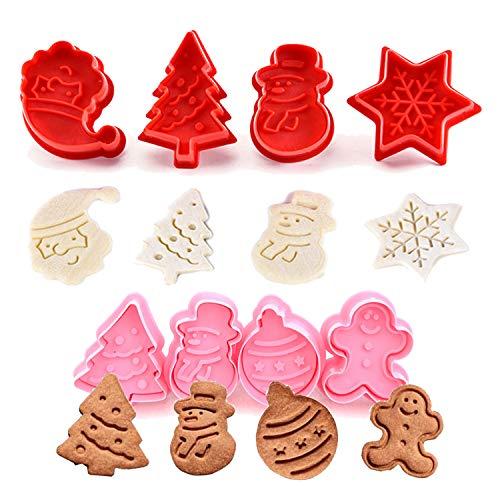 Olywee Set de 8 Moldes de Galletas Navidad Plástico Cortador para Galletas de forma Muñeco de Nieve Papá Noel Copo de Nieve árbol de Navidad Cortador de Pastel de Galletas 3D