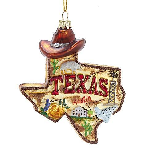 Kurt S. Adler 4.875-Inch Glass Texas Ornament, Multi