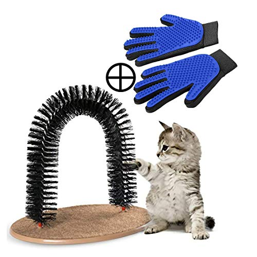 PRECIS Self Grooming Cat Arch Brush with 1 Pair Fur Remover Glove, Groomer, Massager, Scratcher for...