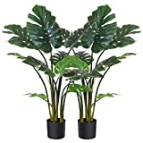 Fopamtri Artificial Monstera Deliciosa Plant 43' Fake Tropical Palm Tree, Perfect Faux Swiss Cheese Plant for Home Garden Office Store Decoration, 11 Leaves (2)