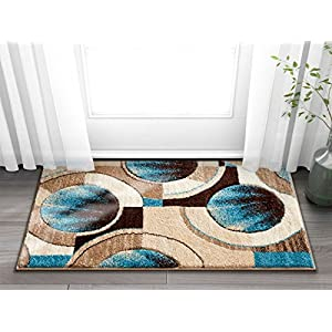 Well Woven Sunburst Blue, Beige, Brown Modern 2×3 (1'8″ x 2'7″) Geometric1 Comfy Casual Hand Carved Area Rug Easy to Clean Stain & Fade Resistant Abstract Contemporary Thick Soft Plush