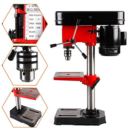 Find Bargain 110V 350W Electric Bench Drill Press Stand Mini Drilling Machine Adjustable Angle & Spe...