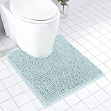 MAYSHINE Luxury Toilet Floor Mat/ U-Shaped Shaggy Chenille Contour Bath Rugs for Bathroom, Tub and Shower/ Non Slip/ Soft/ Absorbent Water/ Dry Fast/ Machine Wash, 24 x 20U Inches, Spa Blue