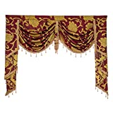 Boyouth Jacquard Swags Waterfall Curtain Valance,European Style Rod Pocket Top Valances for Living Room,Bedroom,Wine Red,59 Inches Width,1 Panel
