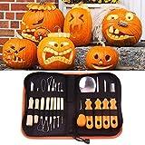 ZSCC Kit de herramientas para tallar calabazas, 13 piezas, herramientas profesionales para tallar calabazas de Halloween con estuche de PU reutilizable, acero inoxidable resistente, tallar fácilmente