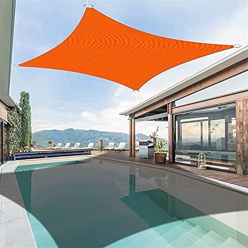 GDZHL Toldo Vela de Sombra Rectangular, Toldo Resistente e Lmpermeable, para Patio, Exteriores, Jardín Protección UV Toldos (3×5m,Naranja)