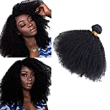 SAJANDA Tissage Afro Kinky Curly, 9A Grade Afro Kinky Bouclé Vierge Tissage Cheveux Humain, Bresilienne Cheveux Humain Afro Kinky Meche 1 Bundle Naturel Couleur (16 Pouces)