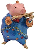 ecosoul Schwein Musikant Musiker Musikinstrumente handbemalt Weihnachten Baumschmuck Deko Hänger Christbaumschmuck 10 cm (blau)