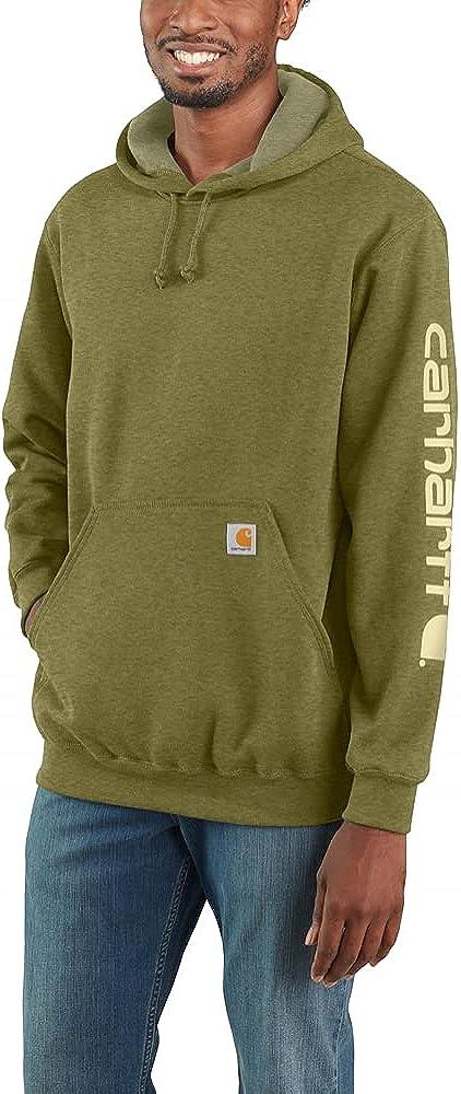Carhartt Men's K288 Midweight Logo Sleeve Hooded Sweatshirt - 4X-Large Regular - True Olive Heather