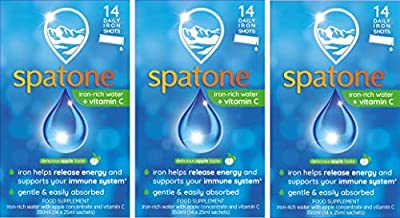 Spatone Liquid Iron Supplement Apple Flavour with Vitamin C, 42 Sachets x 25 ml, 3 Packs of 14 (Packaging May Vary)