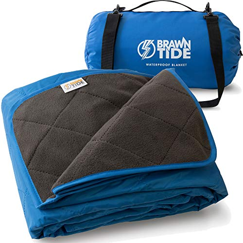 Brawntide Large Outdoor Waterproof Blanket - Quilted, Extra Thick Fleece, Warm, Windproof, With Shoulder Strap, Ideal Stadium Blanket, Great For Camping, Festivals, Picnics, Beaches, Dogs (Royal Blue)
