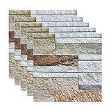 ZHANGDONG Placa para Salpicaduras Adhesiva de 5 Hojas Paneles de Pared 3D con Textura de Roca de PVC Papel Tapiz para Despegar Y Pegar de 30 X 30 Cm (11,8 X 11,8 Pulgadas) para Baño Baño Y Cocina