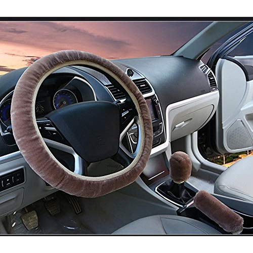 Auto Steering Wheel Cover Handrem Cover Car Automatische Covers Plush Gear Shift 3pcs Auto-interieur accessoires (Color : Tan, Size : Free)