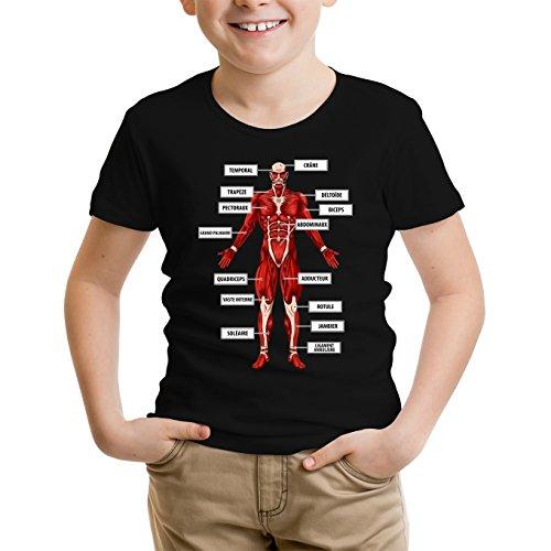 Okiwoki T-Shirt Enfant Noir L'attaque des Titans parodique Le Titan Colossal : Titanatomie colossale. : (Parodie L'attaque des Titans)