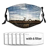 WINCAN Face Cover Bicycle Classic Mountain Bike Retro Style in Sepia Tones and Romantic Sunset Picture Theme Balaclava Reusable...