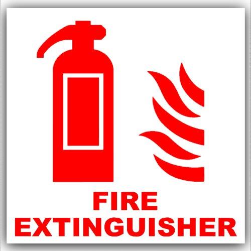 6 x brandblusser-rood op wit, externe zelfklevende waarschuwingsstickers-gezondheids- en veiligheidsbord