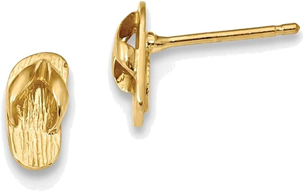 Polished Great interest Tampa Mall Flip Flop Post Earrings Gold 14K Yellow in