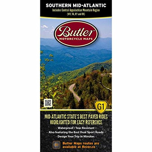 Butler Maps Southern Mid-Atlantic States G1 Motorcycle Map