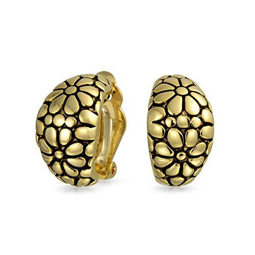 La moitié de l'ensemble de fleurs Collier Hoop Earrings pour femmes Style Crevettes oreilles percées non oxydées en or 14K ou en laiton plaqué argent
