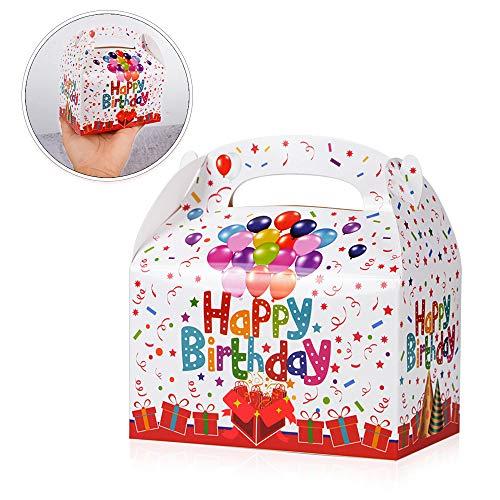 FLOFIA 30PCS Cajas Cumpleaños de Regalo Bolsas Regalo Infantil Niños de Cartón con Estampado de Happy Birthday para Envoltura Regalos Cumpleaños Caramelo Chocolate Galleta Chuches (12,5*7,5*13,5cm)