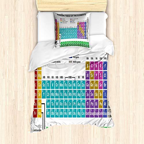 ABAKUHAUS Tabla periódica Funda Nórdica, Vibrante Moderna, Decorativo, 2 Piezas con 1 Funda de Almohada, 135 x 200 cm, Multicolor