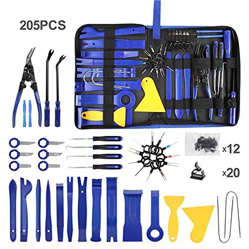 TEQUIERO Trim Removal Tool Set, 205PCS Car Panel Fastener Audio Plastic Trim Removal Repair Tool Kit,Push Pin Bumper Retainer Clip Sets Auto Clip Pliers,Blue/Yellow