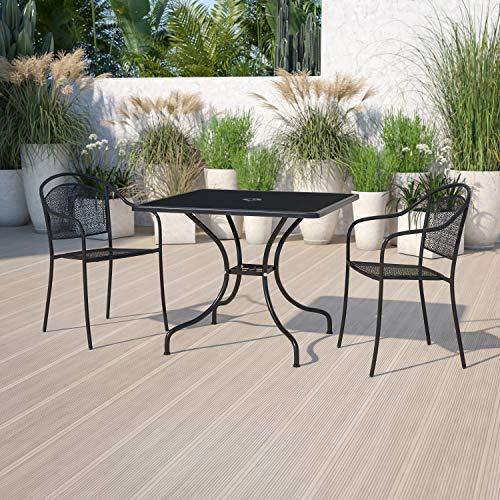 "Flash Furniture Commercial Grade 35.5"" Square Black Indoor-Outdoor Steel Patio Table"