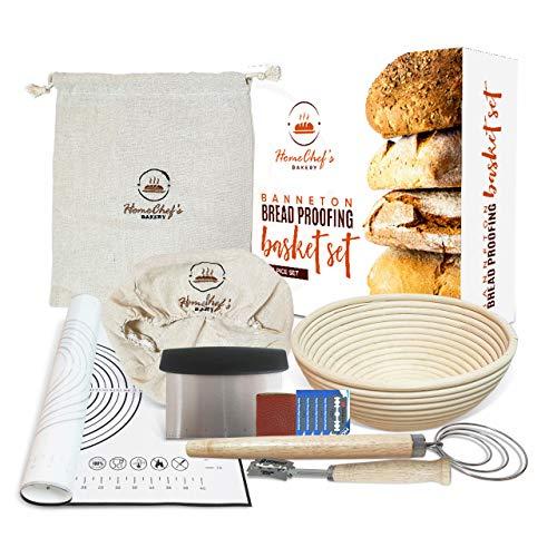 Banneton Bread Proofing Basket Set - HomeChef's Bakery Proofing Basket - Bread Baking Supplies & Bread Making Kit - 9 Inch Proofing Baskets, Cloth Bag, Bread Lame, Kneading Mat, Scraper, Whisk, Liner