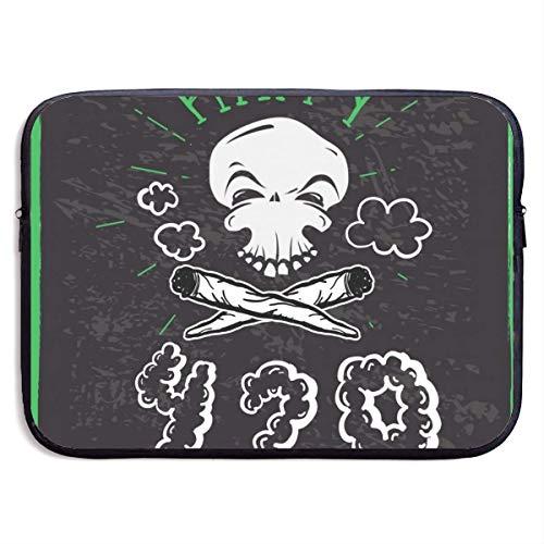 Funda para portátil Cannabis Weed Culture Happy 420 con Stoner Skull y Pipas para Fumar Diseños Dibujados a Mano Bolsa para portátil de 15 Pulgadas